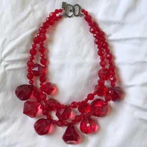 Jewelry - Fun red oversized gem necklace